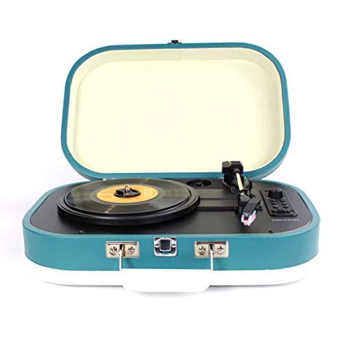 PRIXTON - Giradischi in Vinile Vintage/ Giradischi vintage, Lettore vinile e Lettore Musicale mp3 tramite Bluetooth e USB, 2 altoparlanti integrati, Design a valigia, Colore Blu | VC410