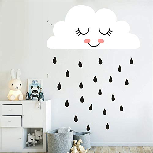 stickers muraux arbres enfants Kids Nursery Room Sweet Clouds avec Raindrop Nursery Bedroom Living House Decor pour enfants