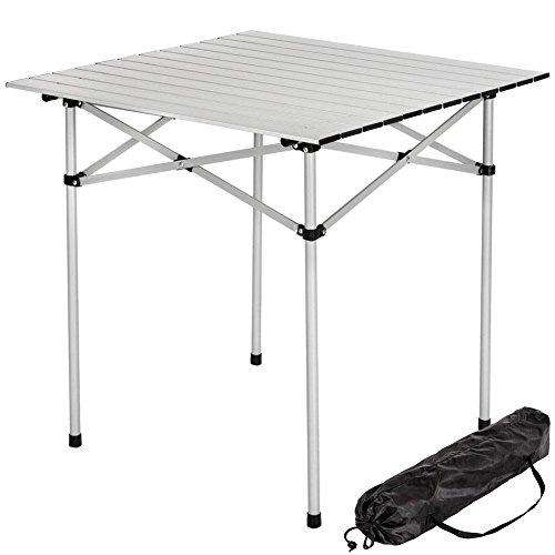 BAKAJI Tavolo Tavolino Camper Campeggio Picnic in Alluminio Pieghevole Top Arrotolabile Salvaspazio e Leggero, Ideale per Sagre Fiere Giardino Casa (70 x 70 cm)