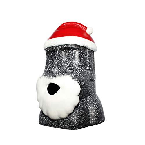 VOSAREA Osterinsel Figur Taschentuchbox Taschentuchspender Moai Tissue Box Kosmetiktücherbox Moai Statue mit Weihnachtsmütze für Weihnachten Ostern Party Dekoration