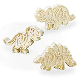 2. Jurassic Dinosaur Cookie Cutters and Skeleton Stampers (Pack of 6)