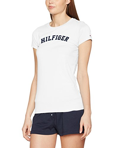 Tommy Hilfiger SS tee Print Camiseta con Logo, Blanco (White 100), S para Mujer