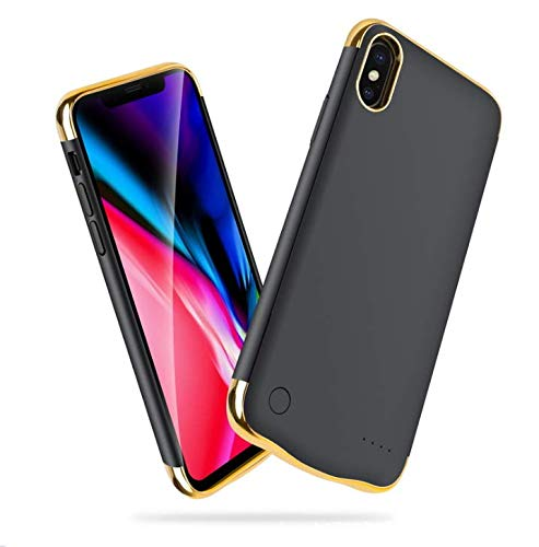 KERTER Battery Case for iPhone XS/X/10 Support Lightning Headphone - [5500mAh], 5.8inch Rechargeable Portable Extended Battery Charging Case Ultra Slim External Backup Power Bank Case - Black