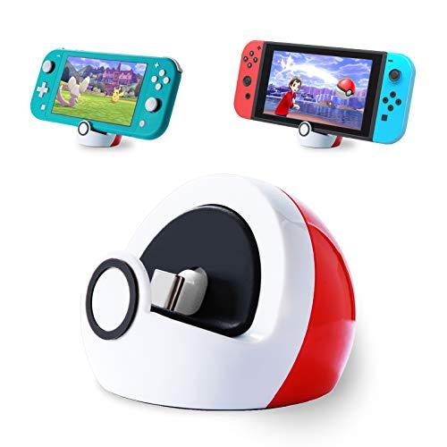 Antank Ladestation für Nintendo Switch und Switch Lite, Typ-c Anschluss Ladestation Keine Projektion Mini Kompakt Tragbar Weiß Rot