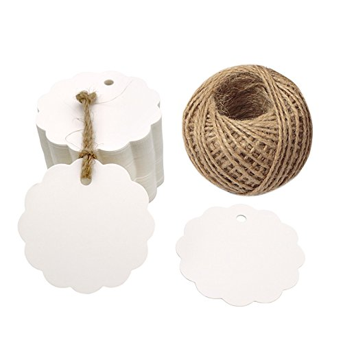 100PCS White Craft Scalloped Paper Gift Tags with 100Feet Natural Jute Twines for Birthday Party, Wedding Decoration Gifts, Arts & Crafts