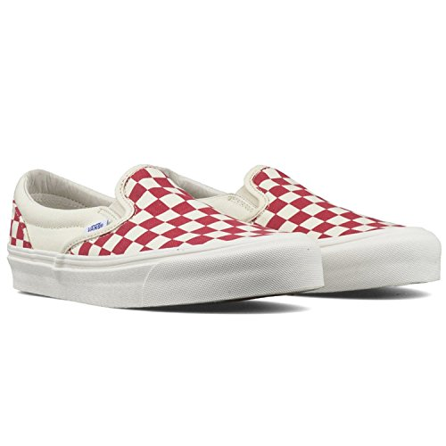 Vans - Unisex-Adult CLASSIC SLIP-ON Shoes, 11 Mens / 12.5 Womens, (Primary Check) Racing Red/White