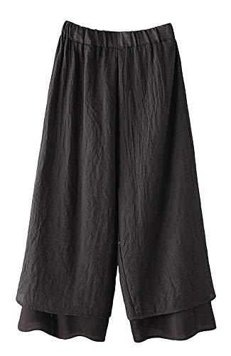 Mallimoda Donna Pantaloni Yoga Palazzo Pants Vita Alta Elastici Harem Pantalone Nero M