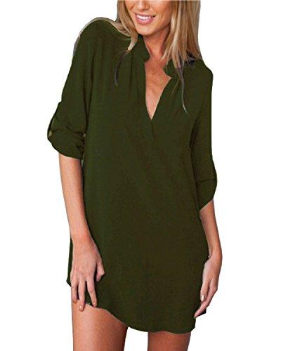 ZANZEA Damen V-Ausschnitt Chiffon Langarm Slim Oversize T-Shirt Bluse Lose Tops Armee Grün EU 36/US 4