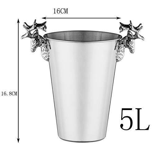 CLJ-LJ Cubos de hielo vintage con cabeza de ciervo de acero inoxidable, 5 L, plata para fiestas, vino, cóctel y bebidas de jardín enfriador