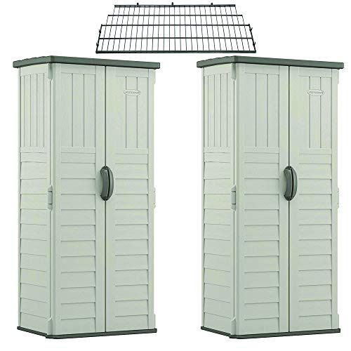 Suncast Vertical Storage Shed (2 Pack) Bundled w/ Metal Wire Shelf Rack Shelving -  BMS1250