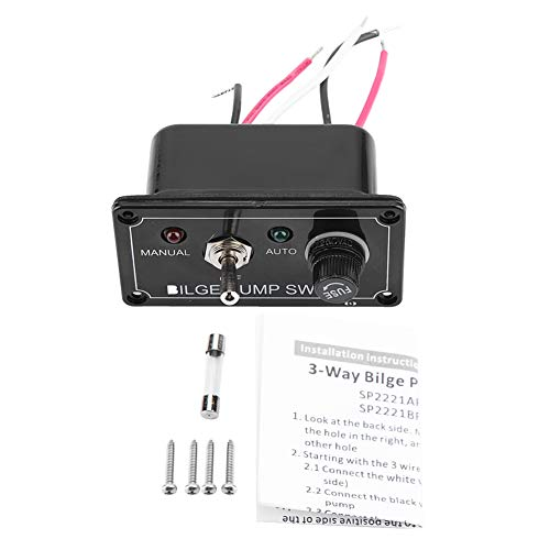 Panel de interruptores de coche, panel de interruptores de bomba de achique con indicador negro de 12 V CC Manual/apagado/automático, para coches/yates/cuatrimotos