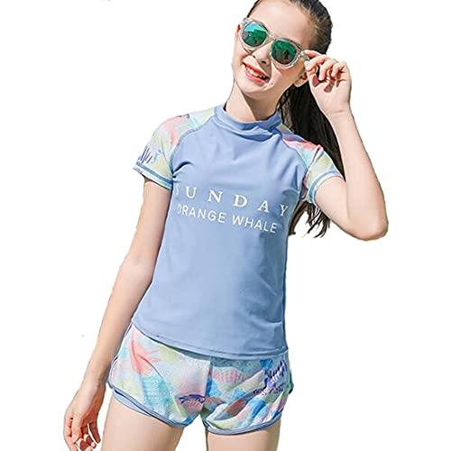 [CARLIE KLOSS] 水着 女の子 ガールズ 2点セット セパレート UVカット 日焼け止め スポーツウエア キッズ スイムウェア 子供 体型カバー ブルー 140cm