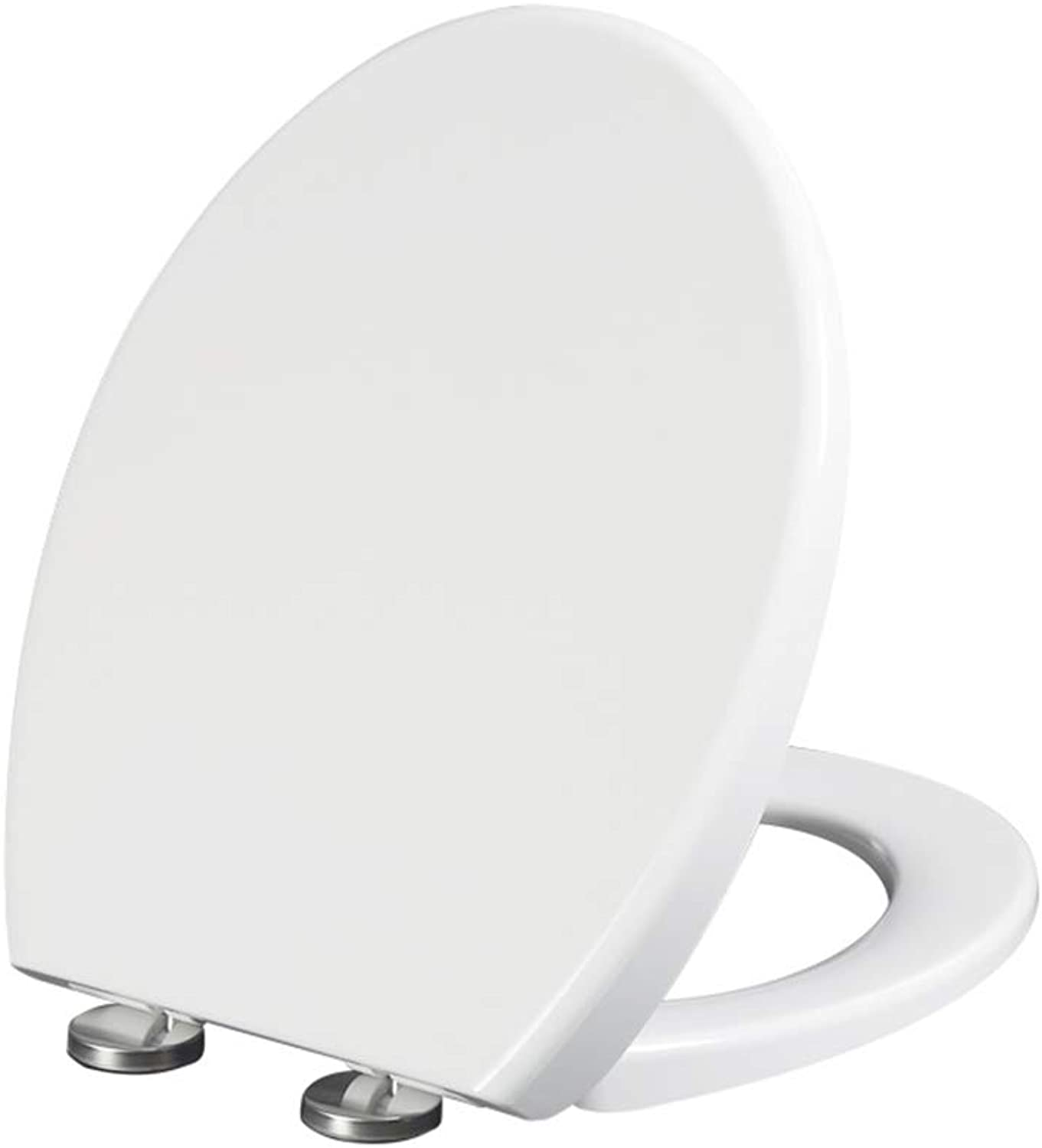 WC Toilet Seat with Slow Soft Close, Stable Hinges Easy to Mount Quick Release for Bathroom Antibacterial White,O,01B
