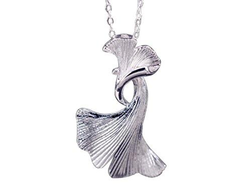 NicoWerk Silberkette mit Anhänger Ginkgo-Blatt Ginko Blatt Natur Halskette Damen 925 Silber Kette Schmuck Sterling SKE235