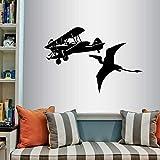 Avión y pterodáctilo pared vinilo calcomanía avión arte pegatina avión dinosaurio niño guardería dormitorio sala de juegos decoración de la pared