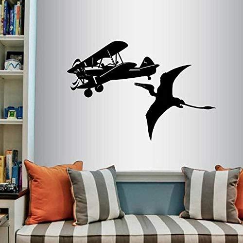 Avión y pterodáctilo vinilo de pared pegatinas de arte de avión avión dinosaurio niño niños guardería dormitorio sala de juegos pegatinas de pared A8 57x84 cm