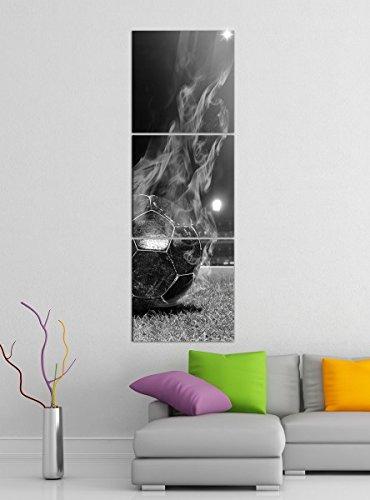 Leinwandbild 3tlg Fussball in Flammen Fußball Feuer schwarz weiß Bilder Druck auf Leinwand Vertikal Bild Kunstdruck mehrteilig Holz 9YA5056, Vertikal Größe:Gesamt 40x120cm