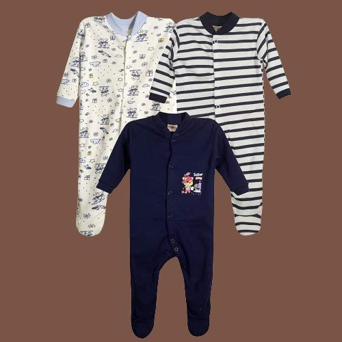 Baby Grow New Born Baby Multi-Color Long Sleeve Cotton Sleep Suit Romper for Boys and Girls Set of 3 (3-6 Months, Navy Blue)