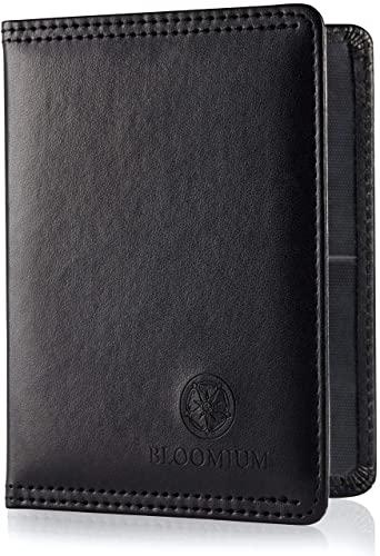 Bloomium Fahrzeugschein Hülle - Mappe für Den Zulassungsschein und Führerschein - Premium Materialauswahl - Motorrad & Kfz Schein Hülle - Ausweishülle mit 5 Fächern - Schwarz
