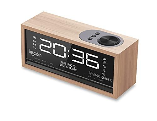 Inscabin C1 DAB/DAB+ FM Digital-Radiowecker mit großem Bildschirm, tragbarer kabelloser Lautsprecher mit Bluetooth, Stereo-Sound, schönes Design für Schlafzimmer, Küche, Büro (Kirsche)
