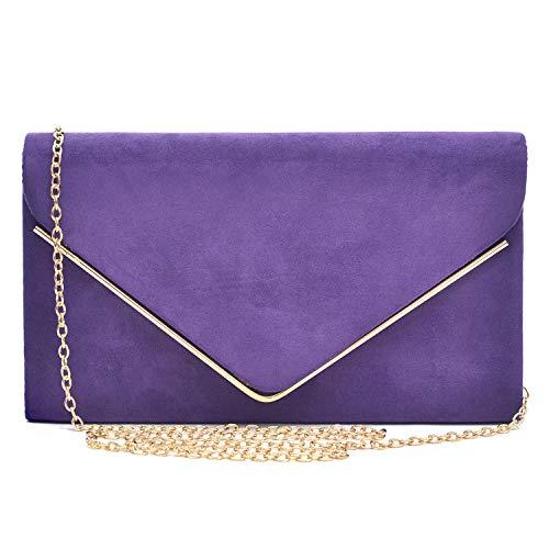 Dasein Ladies' Velvet Evening Clutch Handbag Formal Party Clutch For Women With Chain Strap (Purple)