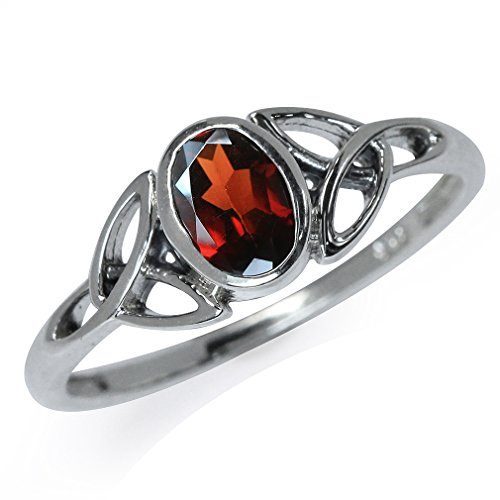 Silvershake Natural Garnet White Gold Plated 925 Sterling Silver Triquetra Celtic Knot Ring Size 9