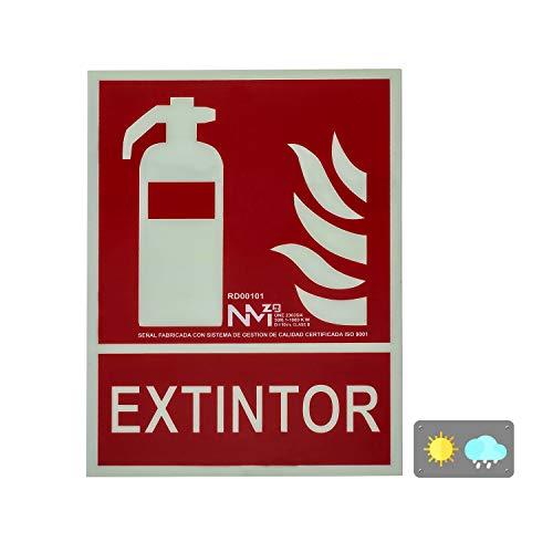 Forever Print RD00101 Normaluz RD00101-Señal, Extinción Homologada de Alta Calidad, 21x 30 cm, Clase B PVC 0.7mm, Extintor-Dibujo + Texto