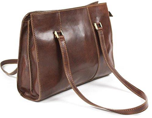 Echtes italienisches Leder Damen Schultertasche Business-Tasche Handtasche Braun