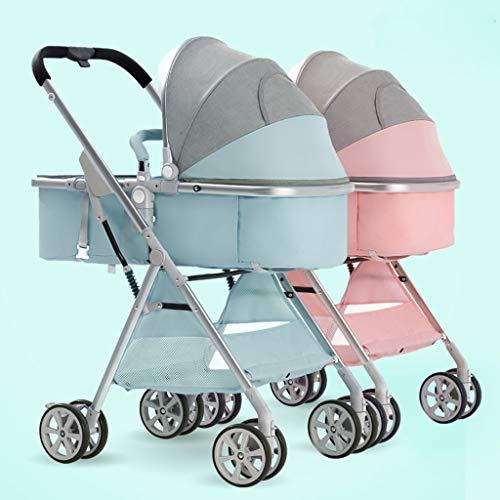Jian E- Doppelkinderwagen können sitzen und abnehmbare hohe Landschaftslicht faltender Schock-doppelter Spaziergänger-zwei Reifen-Wagen // (Farbe : Beige)