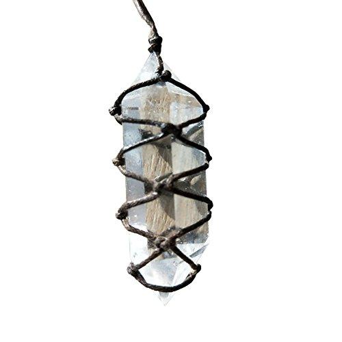 Awhao 1 colgante de doble punta de cristal natural blanco de fluorita de cuarzo piedra de cristal de curación hexagonal varita de tratamiento con cuerda tejida a mano de 4 a 5 cm
