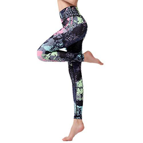 NIGHTMARE Pantalones de Yoga con Control de Barriga para Mujeres Pantalones Deportivos Fitness Gym Training Leggings Workout Running Stretching L