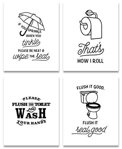 KAIRNE Juego de 4 pósteres divertidos para cuarto de baño,