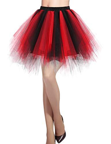 DRESSTELLS Damen Tüllrock 50er Rockabilly Petticoat Tutu Unterrock Kurz Ballett Tanzkleid Ballkleid Abendkleid Gelegenheit Zubehör Black-red L