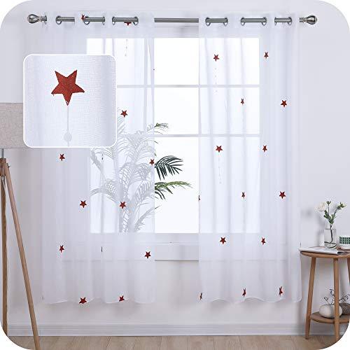 UMI. by Amazon 2 Stück Vorhang Voile Leinen Stern Vorhänge Wohnzimmer Ösenvorhang Transparent 180x140 cm Orange
