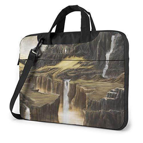 Laptop Umhängetasche 14 Zoll, Fantasy Wasserfall Castle Cliff Aktentasche Schutztasche für Ultrabook, MacBook, Sony, Notebook