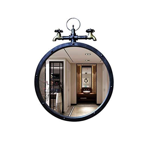 BWCGA Espejos Pared Retro Redondo Baño Arte chino Pared redonda Tocador Color: Negro, Tamaño: Diámetro 50 cm(20 pulgadas)