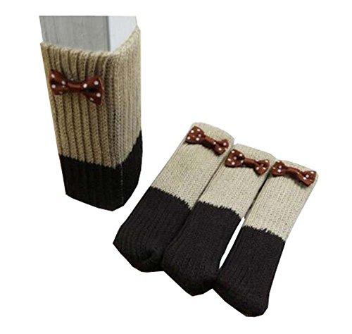 Black Temptation 24 PCS strickte Möbel-Socken - Stuhl, Boden-Schutze für vermeiden Kratzer, A6