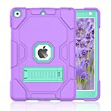 ZoneFoker Thick Case for iPad 8th/7th Generation Case, iPad 10.2 inch Protective Case 2020/2019, 3-in-1 Heavy Duty Shockproof Rugged iPad Cover with Stand for Kids/Girls/Woman (Purple/Cyan)