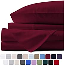 Mayfair Linen 100% Egyptian Cotton Sheets, Burgundy California King Sheets Set, 800 Thread Count Long Staple Cotton, Sateen Weave for Soft and Silky Feel, Fits Mattress Upto 18'' DEEP Pocket