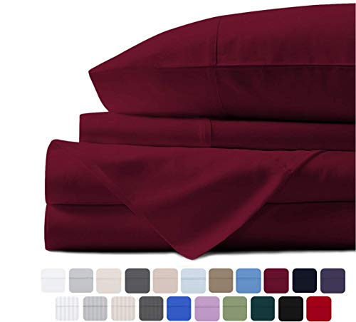 Mayfair Linen 100% Egyptian Cotton Sheets, Burgundy Full Sheets Set, 800 Thread Count Long Staple Cotton, Sateen Weave for Soft and Silky Feel, Fits Mattress Upto 18'' DEEP Pocket