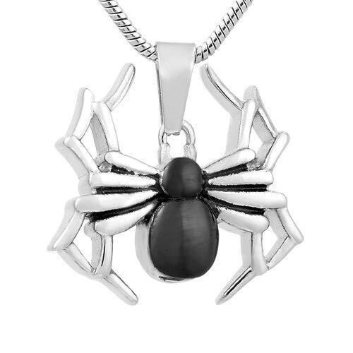 TIANZXS 316l Acero Inoxidable Forma de araña urna Colgante de joyería de Ceniza pequeña Mascota Collar de joyería Conmemorativa Sikver y Negro