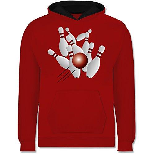 Sport Kind - Kegeln alle 9 Kegeln Kugel - 104 (3/4 Jahre) - Rot/Schwarz - Bowlingkugel - JH003K - Kinder Kontrast Hoodie