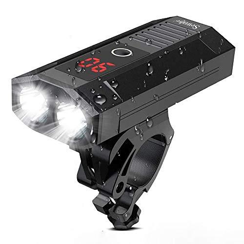SEWOBYE Luci Bicicletta LED Ricaricabili USB 2400 Lumen, Super Luminoso Luci Bici con Display LED, Luce Bici 5 Modes Adatto per Corsa MTB Monopattino Elettrico Bici da Strada (Display LED)