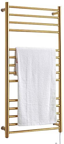 Radiador Toallero Eléctrico, Calentador de toallas eléctricas, estante de secadora de toalla caliente montada en la pared con función de esterilización Acero inoxidable pulido y impermeable IP56, oro,