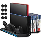 YYKJ Ultra-Thin Fan Cooler Vertical Dual Charging Station, with 2 Controller Charging Ports+14 Game CD Storage+3 HUB Ports, Suitable for PS4 (not for Pro or Slim)