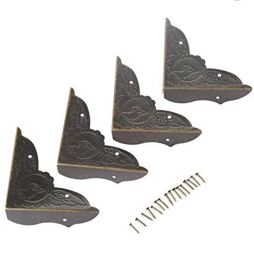4Pcs 52x52x15mm Metall Eckenschutz Dekorative Schutz Schutzecken Kantenschutz für Schmuck Kasten Möbel