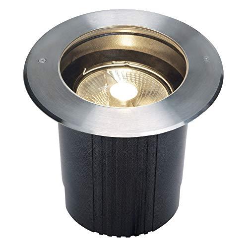 SLV Bodeneinbauleuchte DASAR 215 / Spot für Terrasse, Outdoor-Strahler, Einbau-Lampe Garten, Bodenlampe für Außen / GU10 IP67 75.0W edelstahl