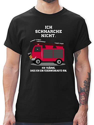 Comic Shirts - Ich schnarche Nicht. Ich träume DASS ich EIN Feuerwehrauto Bin - S - Schwarz - Feuerwehr t-Shirt männer - L190 - Tshirt Herren und Männer T-Shirts