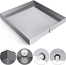 VEVOR 32 x 32 Inch Washing Machine Pan 304 Stainless Steel Heavy Duty Compact Washer Drip Tray with Drain Fitting