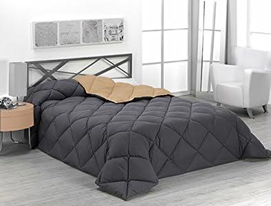 Sabanalia - Edredón nórdico de 400 g reversible (bicolor), para cama de 90/105 cm, color arena y gris